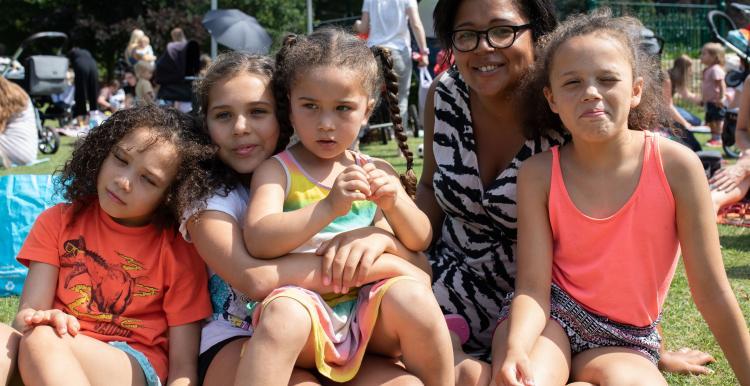 A family at a picnic