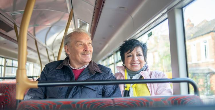 Older couple on the bus