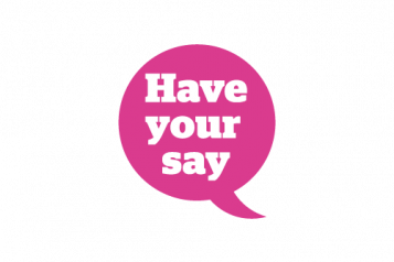 Speech bubble: have your say