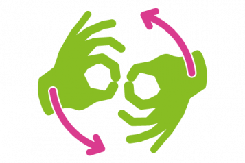 Graphic of 2 hands signifying BSL
