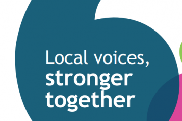 "Annual report cover 2014 - ""local voices, stronger together"""