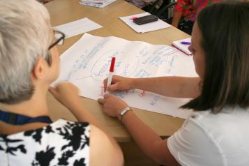 People at a Healthwatch forum writing down ideas
