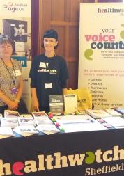 Staff and volunteers at a volunteer fair, Sheffield Town Hall